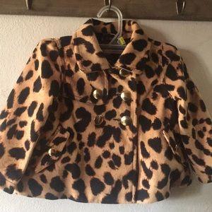 Baby Gap leopard print peacoat 3T